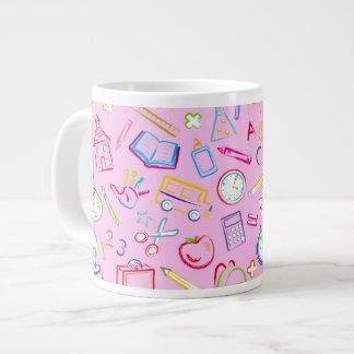 Fun Classroom Icons on Pink Jumbo Mug