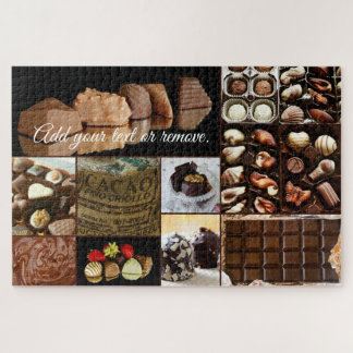 Fun collage close up photos of chocolate & candy: jigsaw puzzle