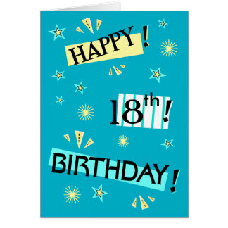 Fun Color Block Fun 18th Birthday Greeting Card