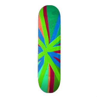 Fun Color Paint Doodle Lines Converging Pin Wheel Custom Skateboard