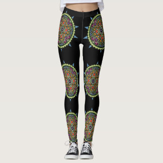 Fun Colorfu design on blackl Leggings