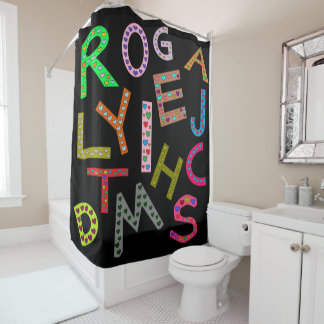 Fun Colorful Alphabet Letters Design Black