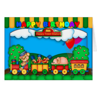 fun colorful birthday card with toy train