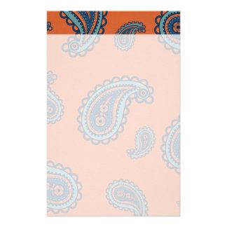 Fun Colorful Blue and Orange Paisley Pattern Customized Stationery