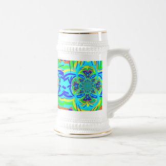 Fun Colorful Butterfly Flower Abstract Fractal Art 18 Oz Beer Stein
