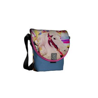 Fun colorful carnival carousel horse photo mini messenger bag