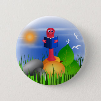 Fun Colorful Cute Bookworm Book Worm Round Buttons