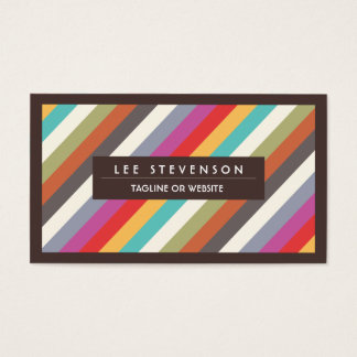 Fun Colorful Diagonal Stripes Pattern Business Card