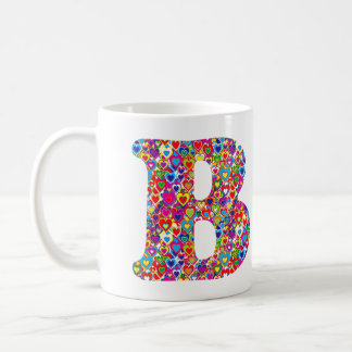 Fun Colorful Dynamic Heart Filled B Monogram Coffee Mug