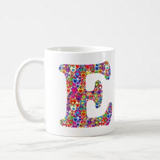 Fun Colorful Dynamic Heart Filled E Monogram Coffee Mug