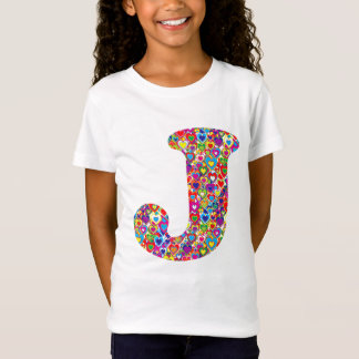Fun Colorful Dynamic Heart Filled J Monogram T-Shirt