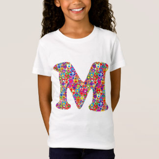 Fun Colorful Dynamic Heart Filled M Monogram T-Shirt