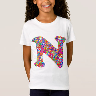 Fun Colorful Dynamic Heart Filled N Monogram T-Shirt