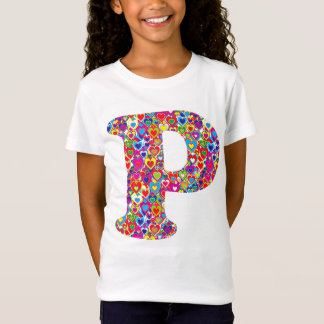 Fun Colorful Dynamic Heart Filled P Monogram T-Shirt