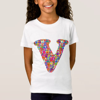 Fun Colorful Dynamic Heart Filled V Monogram T-Shirt