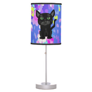 Fun Colorful Floral with Black Cats Lamp