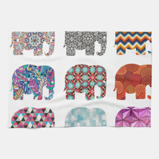 fun colorful funky elephant design kitchen towel