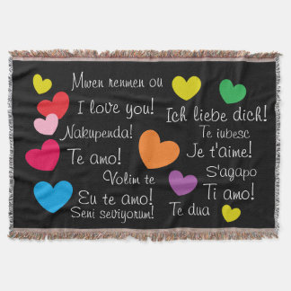 Fun Colorful Hearts I Love You in Many Languages Throw
