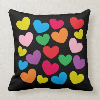 Fun Colorful Hearts on Black Throw Pillow