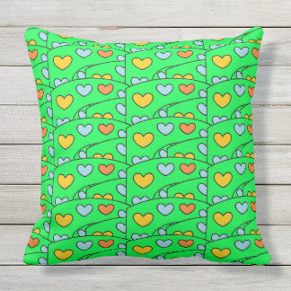 Fun Colorful Hearts on Lime Green Large Throw Pillow