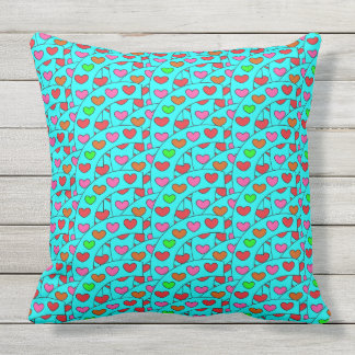 Fun Colorful Hearts on Turquoise Large Throw Pillow