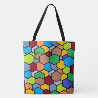 Fun Colorful Hexagon Pattern Tote Bag