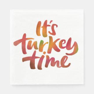 Fun Colorful It's Turkey Time Thanksgiving Dinner Napkin