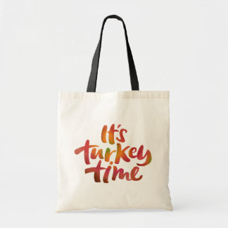 Fun Colorful It's Turkey Time Thanksgiving Dinner Tote Bag