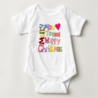 Fun Colorful Merry Christmas Text Babysuit Baby Bodysuit