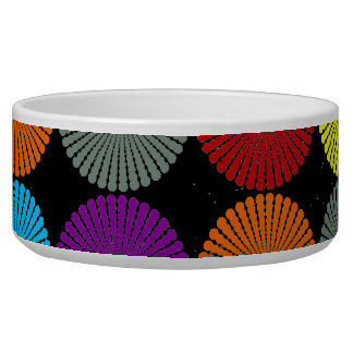 Fun Colorful Multi Colored Circles Disks Buttons Dog Water Bowls