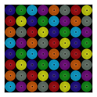 Fun Colorful Multi Colored Circles Disks Buttons Poster