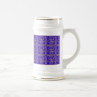 Fun Colorful Owls Blue Yellow ZigZag Pattern Beer Stein