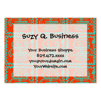 Fun Colorful Owls Orange Teal Blue ZigZag Pattern Business Card Template