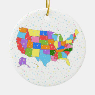 Fun Colorful Pastel Snowflakes and Map of the USA Round Ceramic Ornament