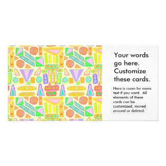 Fun colorful pattern abstract symbols bright color custom photo card