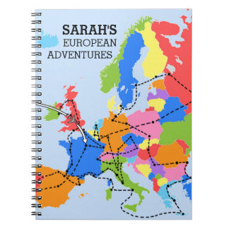 Fun Colorful Personalized European Travel Journal