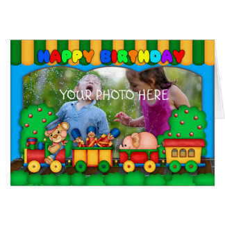 fun colorful photo birthday card with toy train