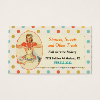 Fun Colorful Polka Dot Cooking Business Card