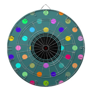 Fun colorful polka dot print metal cage dartboard