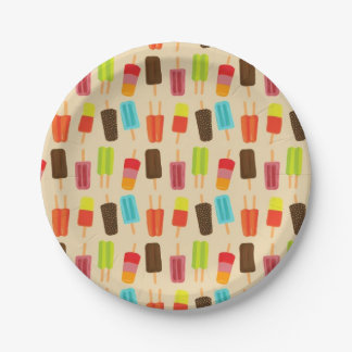 Fun Colorful Popsicles Retro Party Pattern Paper Plate
