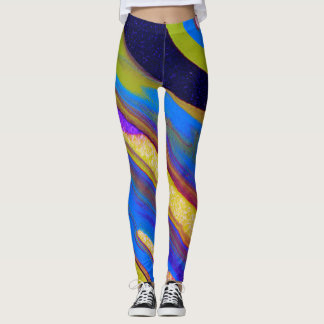 Fun Colorful Poured-Paint Abstract - Leggings