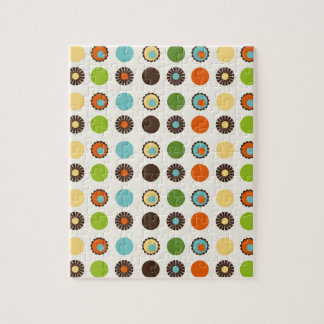 Fun Colorful Retro Boho Abstract Pattern Jigsaw Puzzle