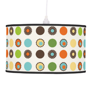 Fun Colorful Retro Boho Abstract Pattern Pendant Lamp