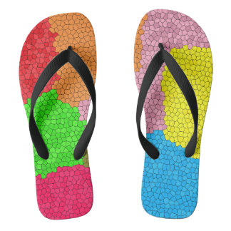 Fun Colorful Stained Glass Mosaic Pattern Flip Flops
