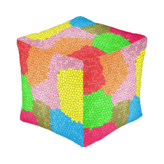 Fun Colorful Stained Glass Mosaic Pattern Pouf