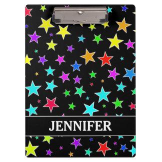 Fun, Colorful Stars Pattern + Custom Name Clipboard