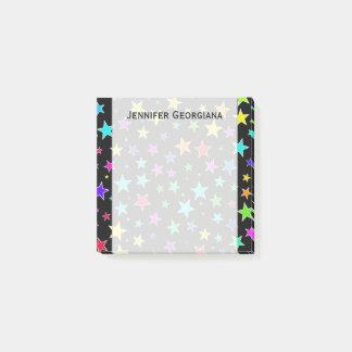 Fun, Colorful Stars Pattern + Custom Name Note