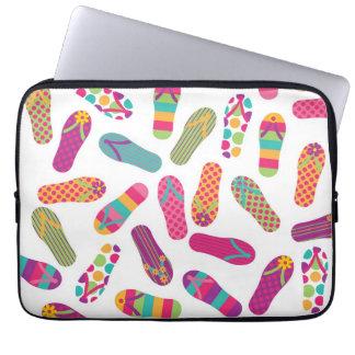 Fun Colorful Summer Flip Flops Pattern Laptop Sleeve