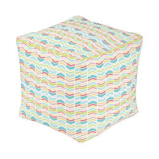 Fun colorful tribal theme chevron pattern pouf