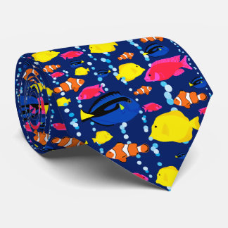 Fun Colorful Tropical Fish and Bubbles Tie